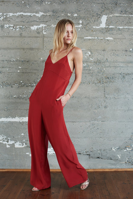 KAMPERETT Ride Silk Jumpsuit - Rust