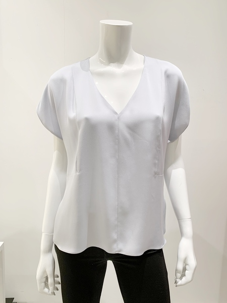 Milly silk v neck blouse - pale blue gray
