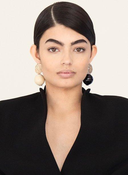 Modern Weaving Textured Globe Earrings - Noir/Creme