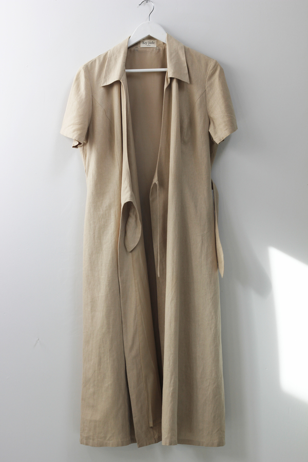 Hey Jude Vintage Sandstone Linen Wrap Dress