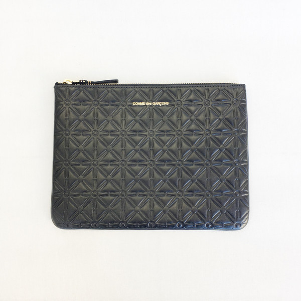 Comme des Garcons - Black Embossed Star Large Zip-up Pouch