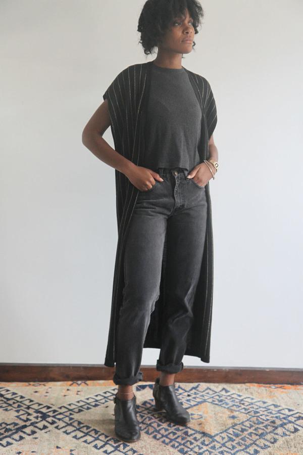 SomeLikeUs Vintage Metallic Stripe Long Knit Vest