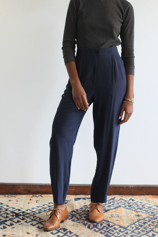 SomeLikeUs Vintage Navy Silk Slim Trousers