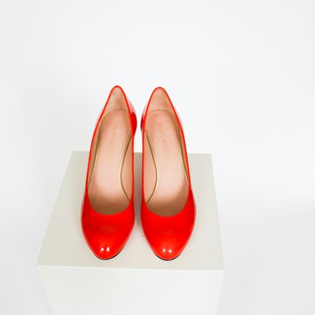 [Pre-Loved] Stuart Weitzman Patent Leather Pumps - Red Orange