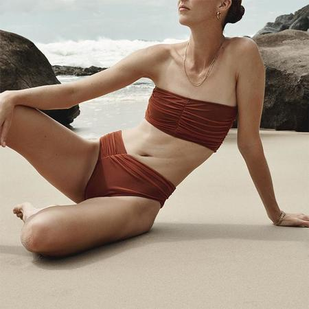 Beth Richards Del Ray Bandeau Scrunched Bikini Top - Rust