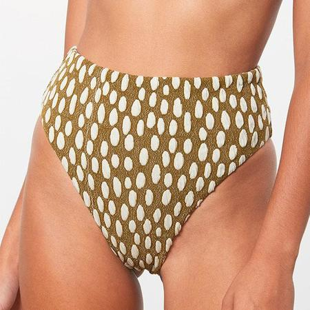 Mara Hoffman Imina High Waisted Bikini Bottom - Cream/Green