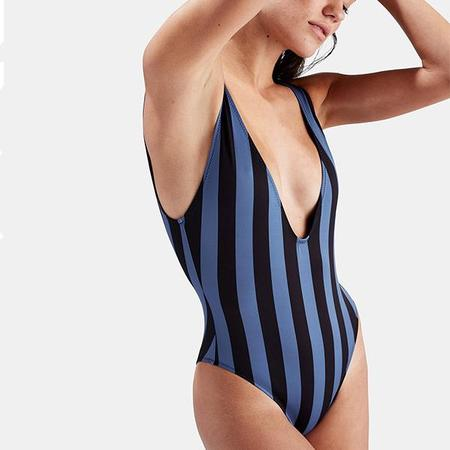 Solid & Striped Michelle Deep V-Neck 1 Piece Swimsuit - Slate/Black