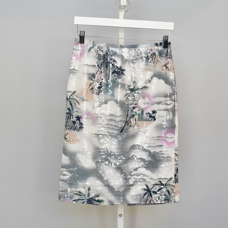 Le Superbe Hawaiian Shine Pencil Skirt - cloud