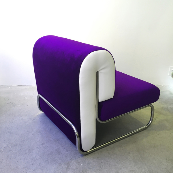 Chrome Tubular Late 1970s Pigment Purple Lounge Chairs