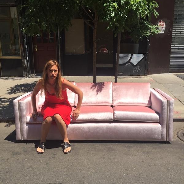 Milo Baughman Chrome & Velvet Sofa