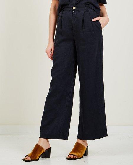 Stateside Tailored Linen Wide Leg Pant - Navy