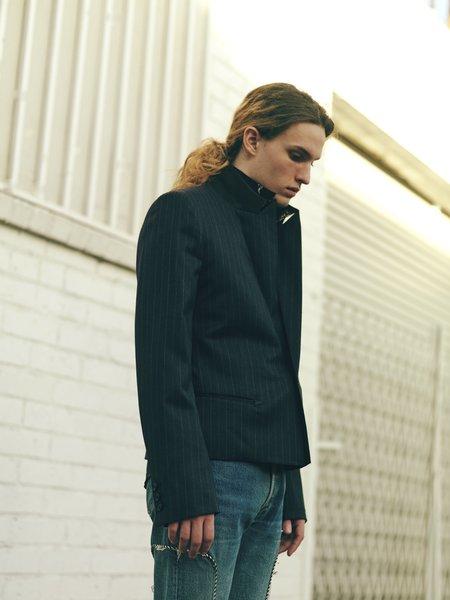 The Letters Charcoal Stripe Serge Wool Peaked Lapel Short Jacket