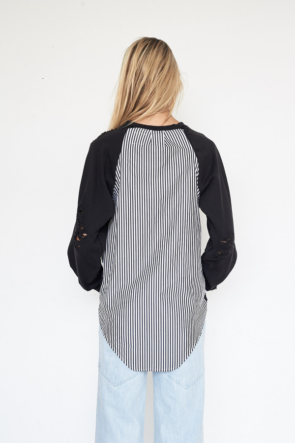 Lyz Olko Cotton L/S Crewneck - Black Stripe