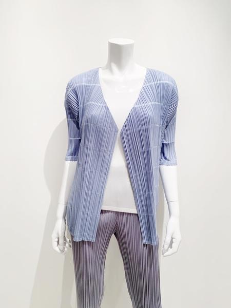 Issey Miyake Pleats 1/2 sleeve cardigan jacket - light blue