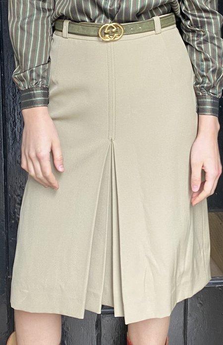 Vintage Gucci Wool Skirt - Khaki