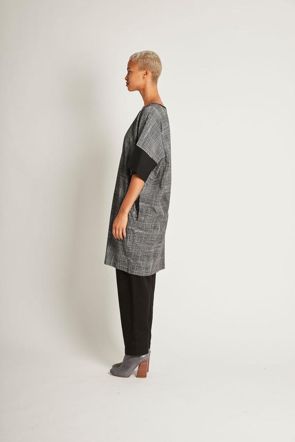 Kowtow Gridlines Dress in Gridlines on Black