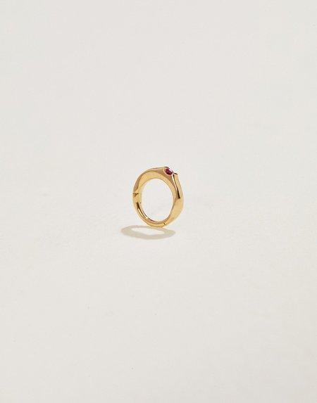 Pamela Love 6mm Floating Ruby Huggie earrings - 14k yellow gold/ruby