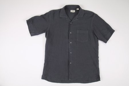 Hartford S/S Linen Button Down - Charcoal