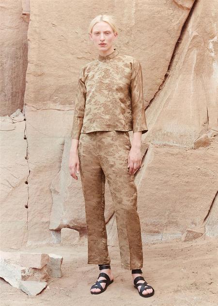 Ms MIN Jacquard Print Trouser - Bronze
