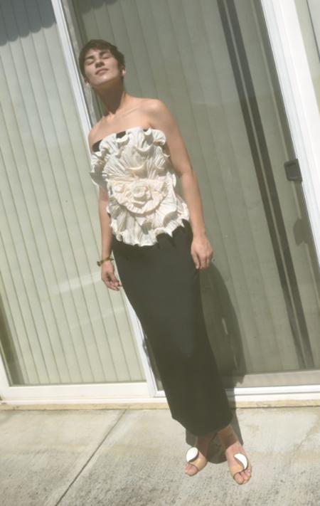 Vintage Marchesa Notte Floral Dress - Black/Cream
