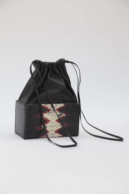 ALTAIRE Embossed Croc/Lambskin Box Bag - Black