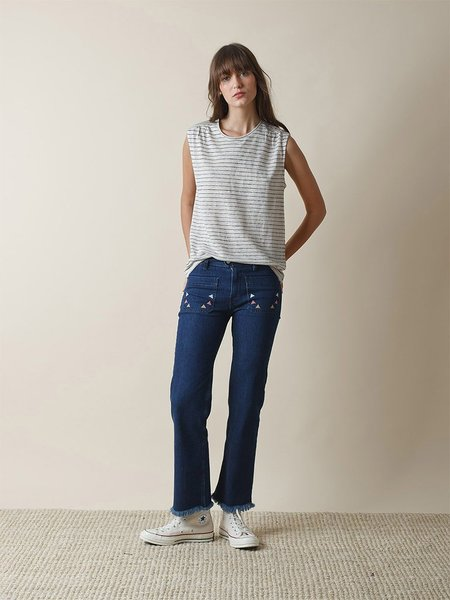 Indi & Cold Striped Linen T-Shirt - Oatmeal