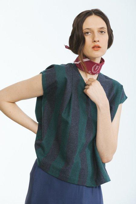 Carleen Pleat Shoulder Shell - Green
