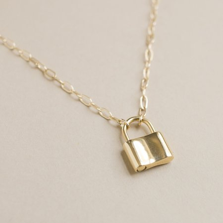 Merewif Holmes Padlock Necklace - Gold