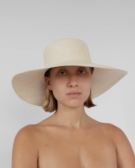 Clyde Pearl Hat with Neck Scarf - Undyed Natural