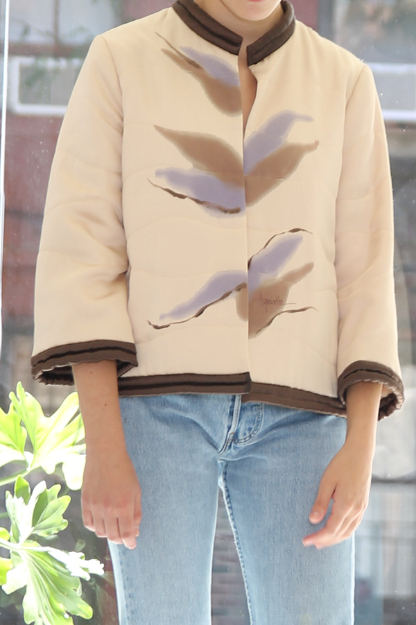 DUO NYC Vintage Handpainted Satin Bomber