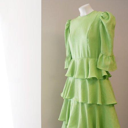 BATSHEVA Spring Linen Layer Dress - Mint