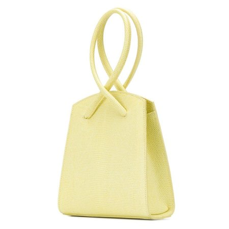 Little Liffner Twisted Wristlet Lizard Embossed Bag - Lemon Curd
