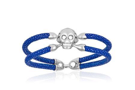 Double Bone Skull Bracelet - Silver/Blue StingRay
