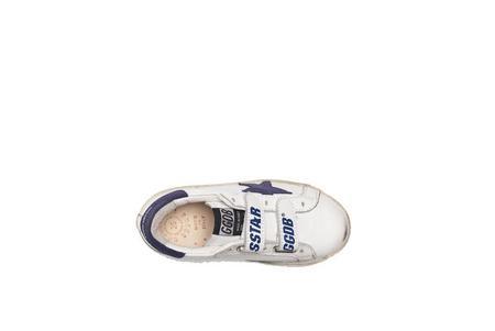 Kids Golden Goose Leather Old School Sneakers - Navy Star