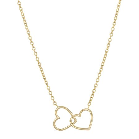 Hortense Double Heart Link Necklace - Rose Gold