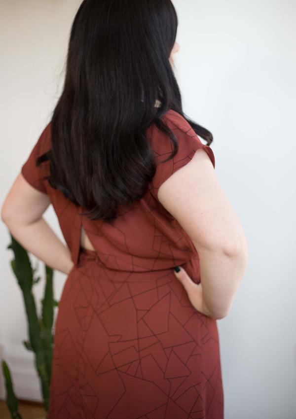 Eve Gravel Fire Bird Dress - Rust Contellation