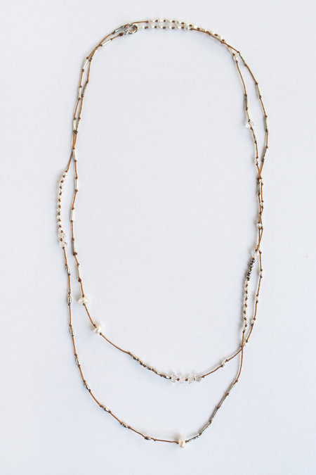 See Real Flowers Seed Pearl Wrap Necklace