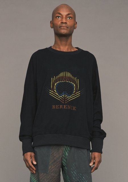 Unisex Berenik Oversized Sweater - Black/Logo Embroidered