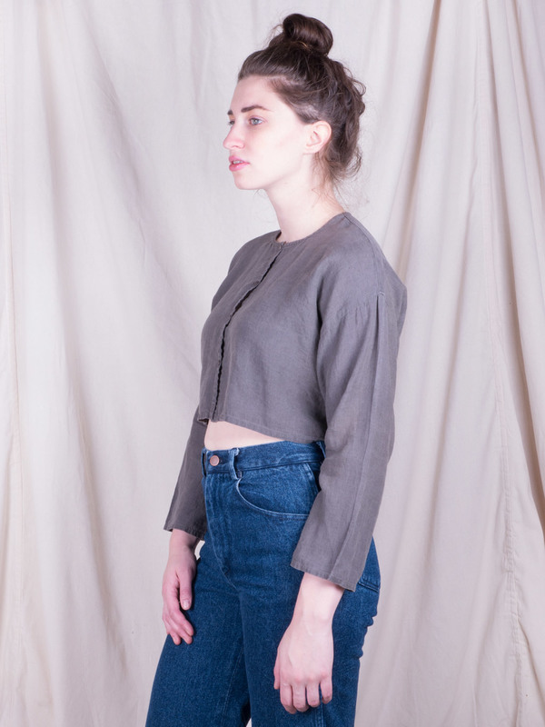 DUO NYC Vintage Linen Cropped Buttondown