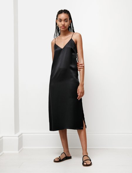 Kamperett Sade Silk Slip Dress - Black