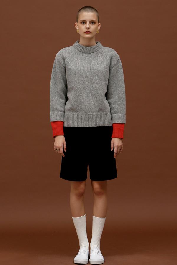 ROCKET LUNCH Double Sleeve Knit- Grey