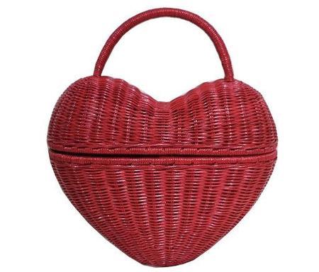 Serpui Heart Wicker Bag - Red