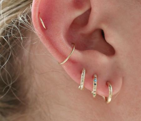 scosha a mini hoop with mixed stones earring - 10K Gold