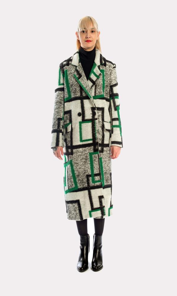 Kurt Lyle Veronique Double Breasted Coat in Deco