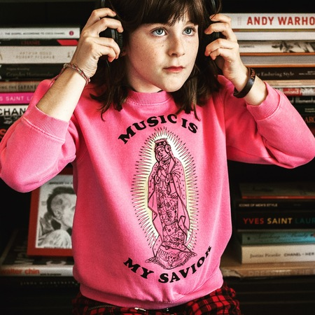Kids Anchors-n-Asteroids Music is my Savior Sweats - Peony Pink