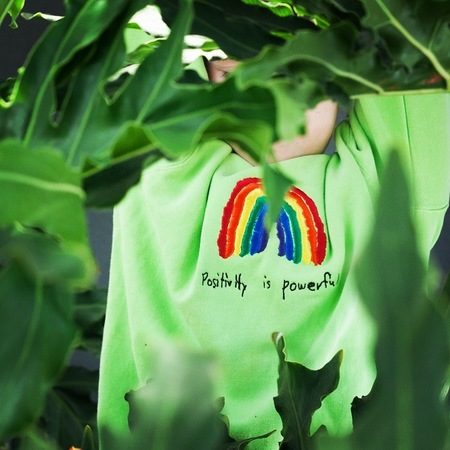 Kids Anchors-n-Asteroids Positivity is Powerful Sweats - Lime