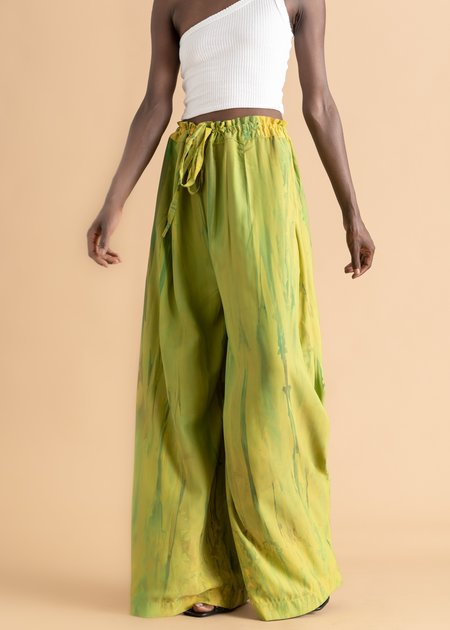 Sisiano Wide Leg Pant - Green Deep Dyed