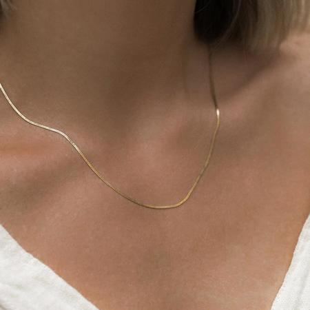 Leah Alexandra Herringbone Chain Necklace