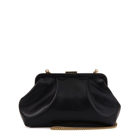 Clare V. Sissy Lizard Bag - Black
