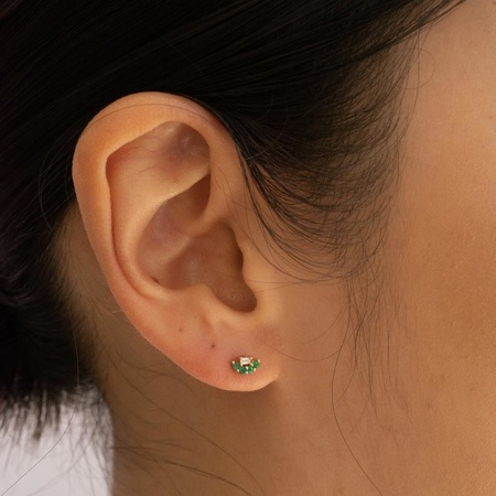 Jennie Kwon Designs Mini Baguette Emerald Lace Studs - 14k Yellow Gold